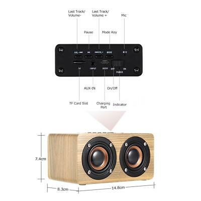 Mini Portable Wooden Bluetooth Speaker Heavy Bass Player with MIC Charging Cable
