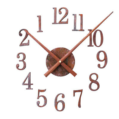 Retro Rust Metal DIY Wall Clock Creative Reverse Pointer Watch Home Decor