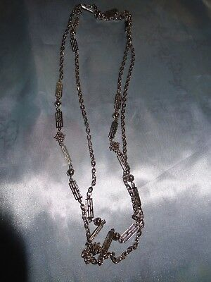 Vintage Long Signed Japan Silver Tone Metal Chain Necklace # 154