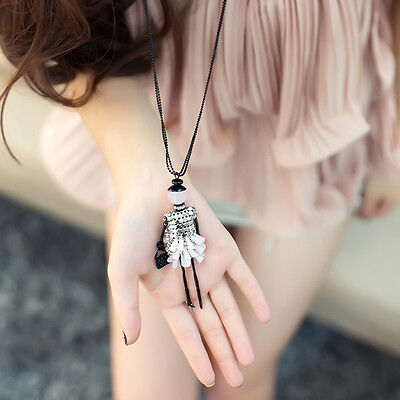 1Pc Women Doll Beads Pendant Crystal Necklace Long Sweater Chain Jewelry