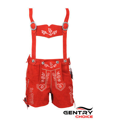 Authentic Leather Short Lederhosen Women Oktoberfest Costume Red