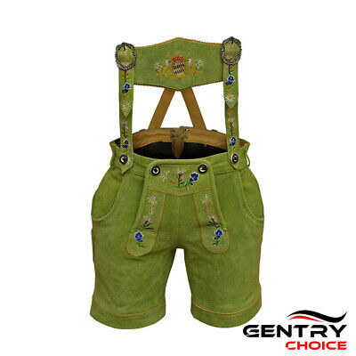 Authentic Leather Short Lederhosen Women Oktoberfest Costume Green