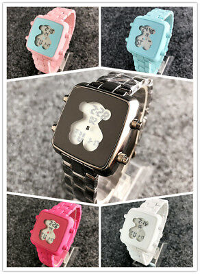 New Women's Dress Stainless steel Mimic ceramics Number LED Teddy bear Watch