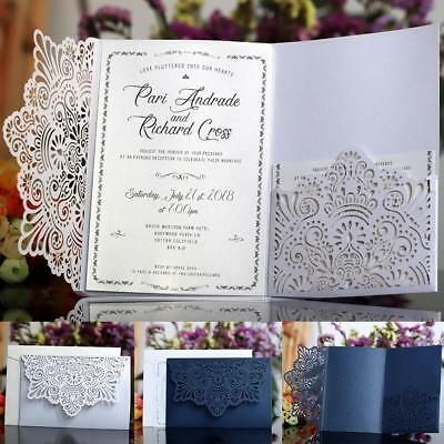 10pcs Laser Cut Lace Party Wedding Invitation Greeting Cards Envelope Kit/Cover