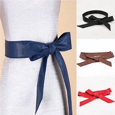 Womens Soft PU Leather Self Tie Bow Bridal Party Fancy Dress Ladies Waist Belt