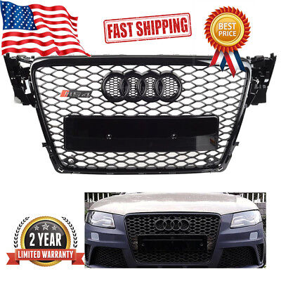 Audi A4 S4 B8 RS Style Honeycomb Type Mesh ABS Front Gloss Black Grill2009-2012