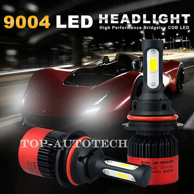 2x waterproof 9004 LED Headlight kit Blub 16000lm 6500K High Low Beam White C1
