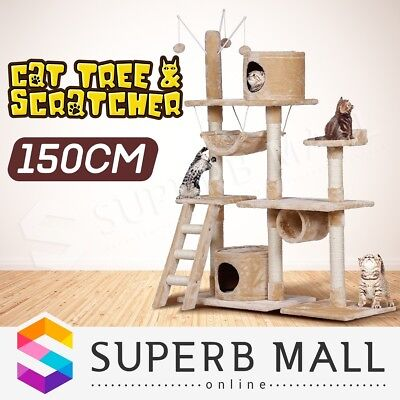 Multi Level 150cm Cat Tree Scratching Post Scratcher Pole Gym Toy House Climbing