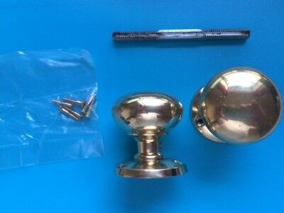 "Brass 2"" (50mm) Mushroom Door Knob Pair with Spindle and 2 Roses"