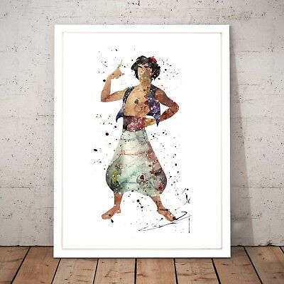 Disney Classic Cartoon Aladdin Gift Watercolour Home Decor Art Poster Print