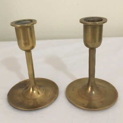 Brass & Rosewood Candle Holders Vintage 3 Pairs Hand Made VGC