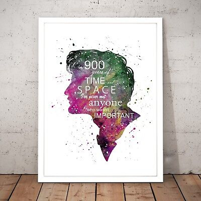 Dr Who TV Series Quote Present Doctor Who Watercolour Decor Art Poster Print