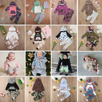 Baby Girl Boy Autumn Outfits Infant Clothes Hooded Tops Sweatshirt+Pants Set