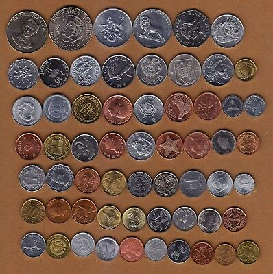 Lot 60 Coins Of 60 Different Countries, All Uncirculated, Free Shipping