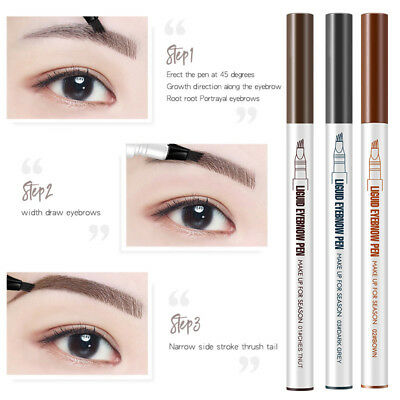 UK 3 Colors Liquid Eyebrow Pen Tattoo Waterproof Eye Brow Pencil Smudge-proof #1