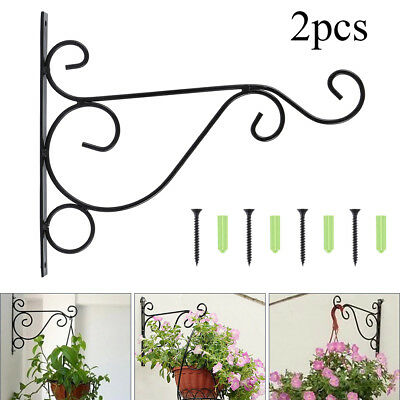 2Pcs Metal Wall Hanging Bracket Art Plant Holder Hanger Hook Home Garden Decor