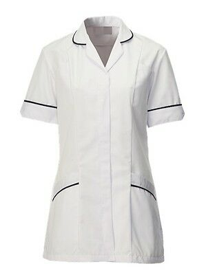 Womens Nurses Healthcare Tunic, Gp Nhs, White With Navy Trim Sizes 8-24. Ins31Wh