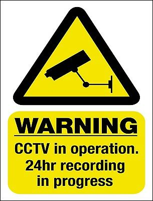 CCTV Camera WARNING Security Protection Metal Aluminium gloss Plaque Poster SIGN