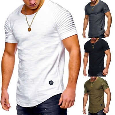 Homme T-shirt Chemise hauts summer Tops Sport muscle tee Fitness Blouse stretch