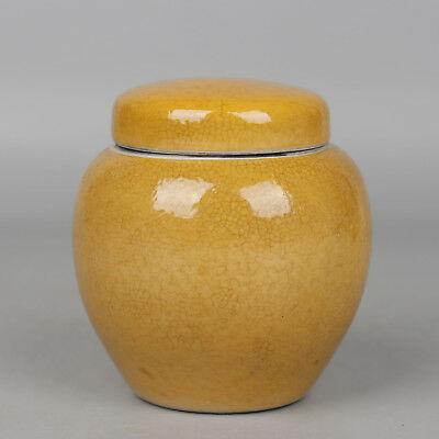 Chinese antique Porcelain Qing qianlong yellow glaze Tea canister pot Collection