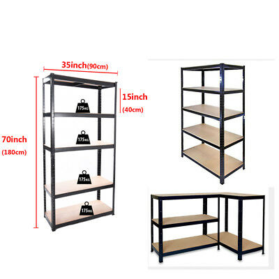 5 Tier Heavy Duty Garage Shelving Storage Racks Boltless Metal Warehouse Shelve