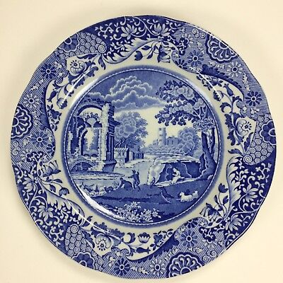 Spode Italian Blue White Scalloped Salad Plate Dessert Plate with Old Mark