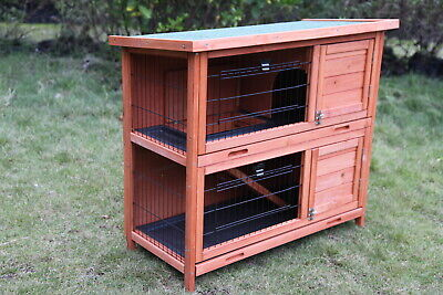 Double Storey Rabbit Hutch Wooden Guinea Pig Cage House With Pull Out Tray