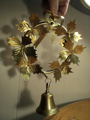 """Vintage Brass Holly Wreath w/ Bell Decoration  -  10"""" Tall"""