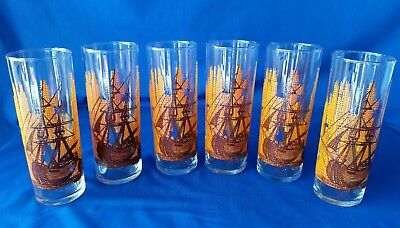 """6-VINTAGE NAUTICAL THEMED 6-1/2""""  SWANKY SWIGS /TOM COLLINS GLASSES☆Excellent ☆"""