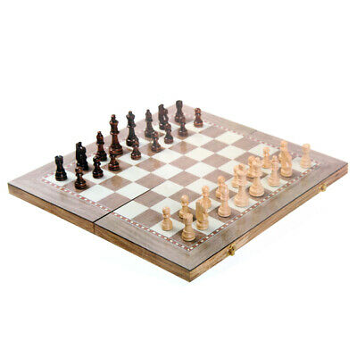 3-in-1 Wooden Travel Chess, Checkers, Backgammon Set