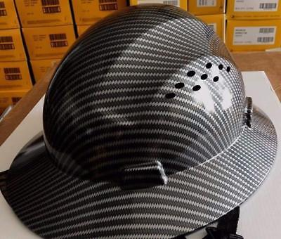 HDPE Hydro Dipped Black Full Brim Hard Hat with Fas-trac Suspension balck new