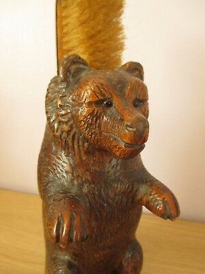 "Antique German 9"" Black Forest Bear Brush Holder Wood Carving"