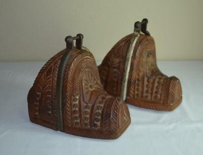 Carved Wood Argentinian South American Wood Wooden Stirrups Pair