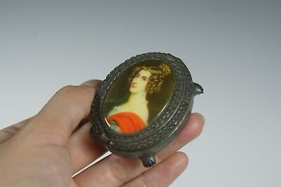 Snuff Box Miniature Portrait Pewter Claw Ball Feet Regency Style 20th Century