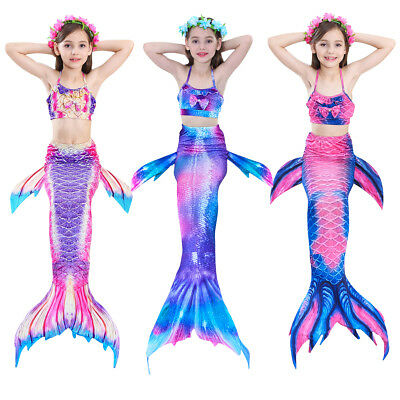 Kids Girls Fin Mermaid Tail Monofin Swimmable Tail Swimming Costume Pool Party
