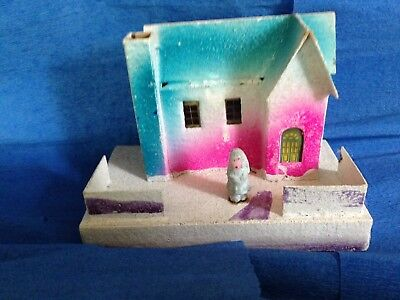 Antique Japanese Putz Christmas House With Figure