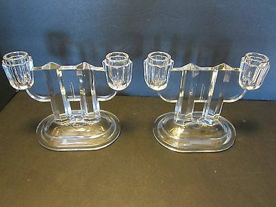 Pair GLASS ART DECO DOUBLE CANDLE HOLDER FOOTED DEPRESSION Set clear Vintage