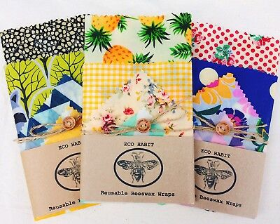 "XL Set Of 4 ""Eco Habit"" Beeswax Food Wraps, Zero Waste, Handmade, Biodegradable"
