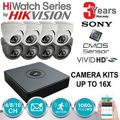 Hikvision Hiwatch Cctv System Hdmi Dvr Dome Night Vision Outdoor Camera Full Kit
