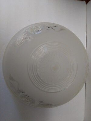 """VINTAGE ART DECO 3 HOLE FROSTED GLASS HANGING LAMP SHADE 10"""" Dia W/ chains"""
