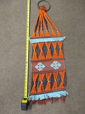 "Vintage Woven Brazilian Wall Hanging Orange / Brown / Blue 36"" Woven Art VT107"