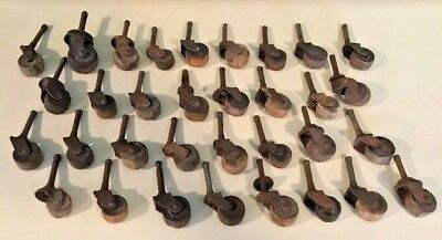 Antique Vintage Wood Casters Lot of 33 Working Salvaged Hardware