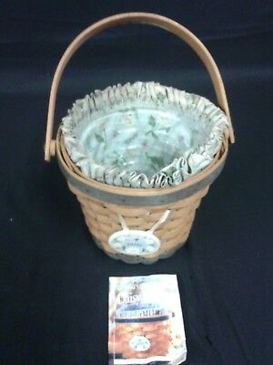 LONGABERGER MAY SERIES 1999 DAISY BASKET w/ liner, protector & tie on