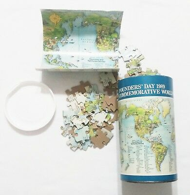 UPS Founders Day 1989 Commemorative World Puzzle with Insert in a Can