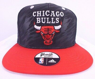 Chicago Bulls Nba Youth Snapback Hat New Black red Cap By Adidas F-101 c2ed74ed88d