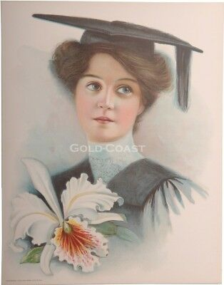 College Girl, Graduation 1906 Victorian Color Litho 10x13 Print-Chromolithograph