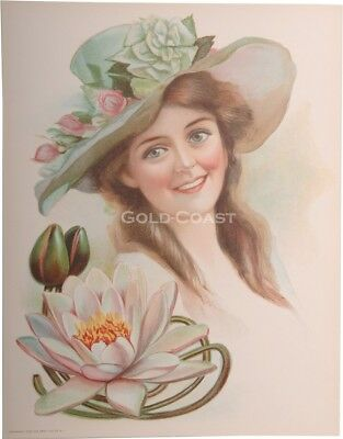 Woman, Water Lily Flower 1906 Victorian Color Litho 10x13 Print-Chromolithograph