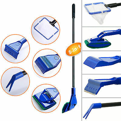 5 in1 Aquarium Cleaning Kit Tool Fish Tank Gravel Cleaner Glass Brush Fishnet