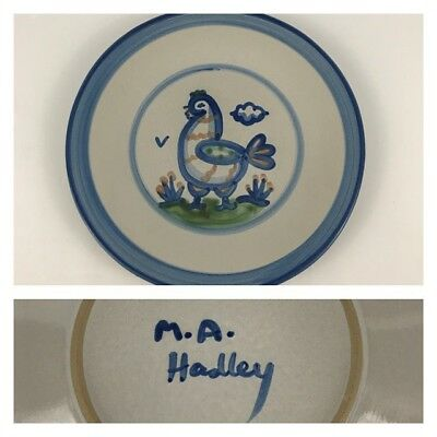 "M.A. Hadley Blue Chicken Country Scene 8 3/4"" Salad Dessert Plate Pottery Hen"