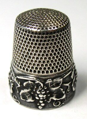 "Antique Simons Brothers Sterling Silver Thimble Grape Design Monogram ""Ruth"""
